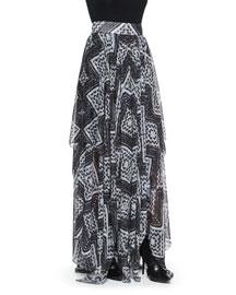 Ryley Diamond-Mosaic-Print Pleated Skirt