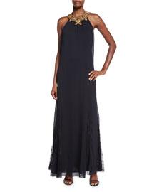 Ravi Embellished-Neck Maxi Dress