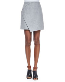 Mid-Rise Flannel Envelope Skirt, Gris Clair Chine