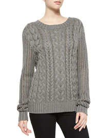 Cable-Knit Pullover Sweater, Charcoal