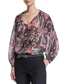 Arzela Silk Multipattern Top, Black