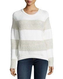 Rodeo Wide-Striped Sweater, Linen Combo