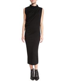 Sleeveless Wool Midi Dress, Black