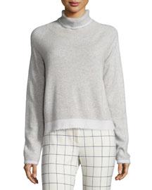 Knit Turtleneck Sweater, Light Gray/Soft White