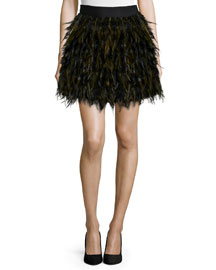 Cina A-Line Feather Skirt, Black/Army Green