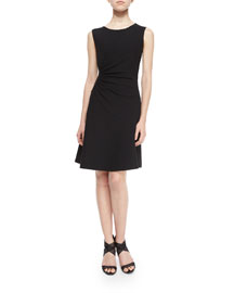 Dayna Ruched Fit-and-Flare Dress, Black