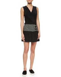 Sleeveless Side-Twist Dress, Black/White