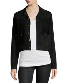 The On-The-Fringe Trucker Jacket, Black