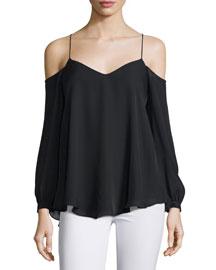 Silk Long-Sleeve Cold-Shoulder Top, Black