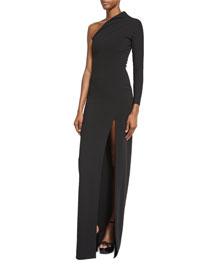 Nadia One-Shoulder Maxi Dress, Black