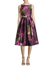 Sleeveless Pleated Floral Cocktail Dress, Magenta