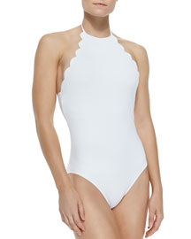 Mott Halter One-Piece Swimsuit W/ Scalloped Edges, White
