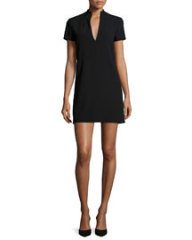 Barry Short-Sleeve V-Neck Mini Dress, Black