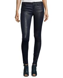 Angie 5-Pocket Leather Leggings, Navy