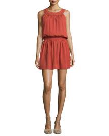 Sonja Sleeveless Silk Dress, Burnt Rose