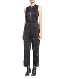 Sleeveless Gingko-Embellished Jumpsuit, Midnight