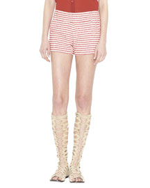 Cady Striped Cotton-Blend Shorts, Red/Cream