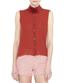 Teri Sleeveless Sheer Button-Front Top, Red