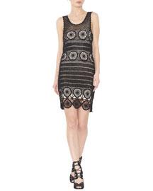 Jeannette Sleeveless Crochet Sheath Dress, Black