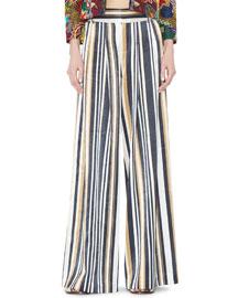 Scarlet Wide-Leg Striped Pants, Multicolor