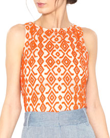 Pire Sleeveless Beaded Crop Top, Orange