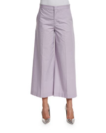 Wide-Leg Cropped Pants, Lilac