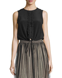 Sleeveless Ruffle-Front Blouse, Black
