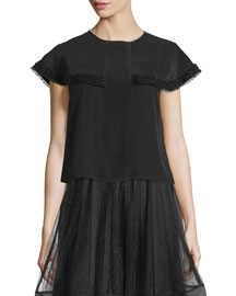 Cap-Sleeve Ruffle-Trim Blouse, Black