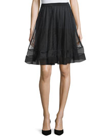 A-Line Skirt W/Ribbon Detail, Black