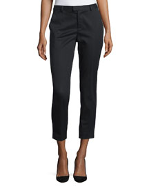 Mid-Rise Narrow Cropped Pants, Black