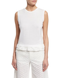 Sleeveless Lace-Back Top, White