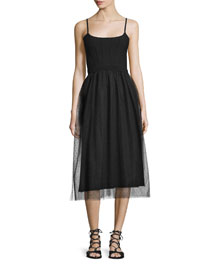 Sleeveless Combo Midi Dress, Black