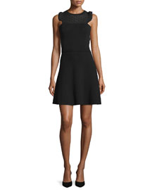Sleeveless Lace-Yoke Dress, Black