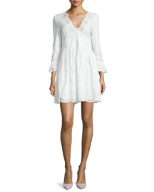 Sangallo 3/4-Sleeve Eyelet Dress