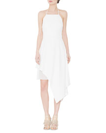 Bennie Asymmetric Halter Dress, Cream