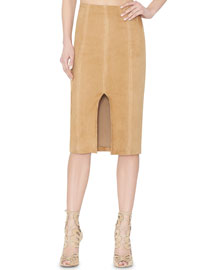 Kori Paneled Suede Pencil Skirt, Tan