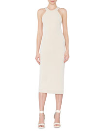 Lumi Fitted Cross-Back Midi Dress, Cream