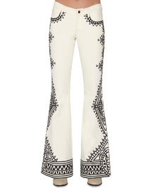 Ryley Embroidered Low-Rise Flare Jeans, White