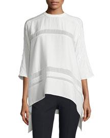 Olea Sheer-Inset Silk Top, Off White