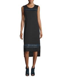 Nevin Sleeveless Jersey Midi Dress, Black