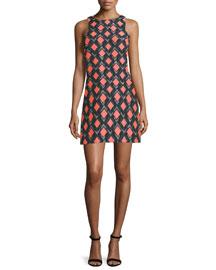 Sleeveless Diamond-Print Sheath Dress, Multi Colors
