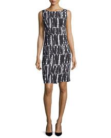 Linear Geometric-Print Sheath Dress, White