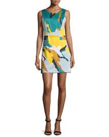 Sleeveless Modern Camo-Print Dress, Multi Colors