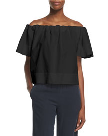 Off-The-Shoulder Cropped Top, Black