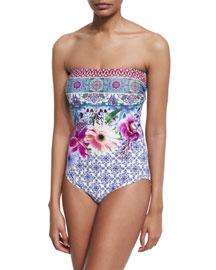 Le Jardin Floral-Print Bandeau One-Piece Swimsuit