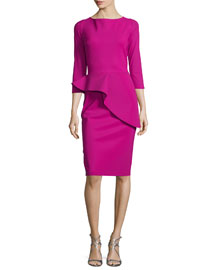 3/4-Sleeve Peplum Cocktail Dress, Cilamino