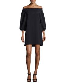 Off-the-Shoulder Woven Mini Dress, Black