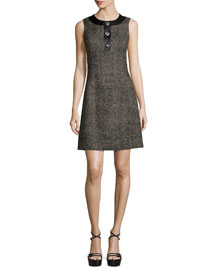 Sleeveless Button-Front A-Line Dress, Hemp/Black