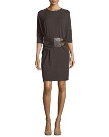 Half-Sleeve Double-Buckle Dress, Chocolate