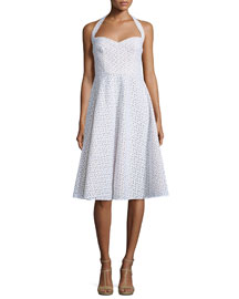 Halter-Neck Eyelet Dress, Optic White
